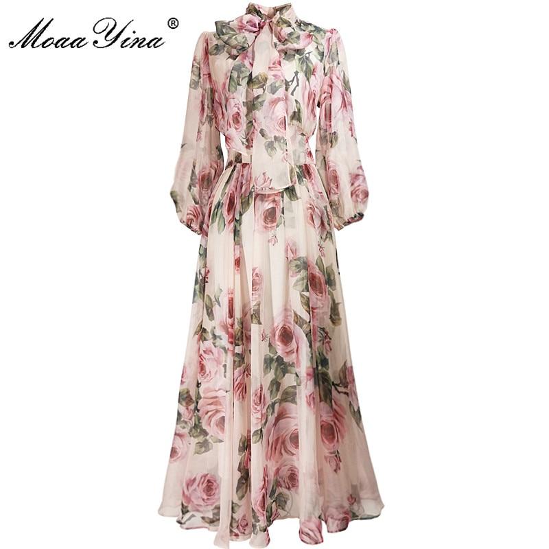 فستان نسائي صيفي لربيع وصيف من MoaaYina, فستان نسائي بياقة ذات ربطة عنق باللون الوردي ذو تصميم بطبعة ورود مناسب للعطلات من الشيفون