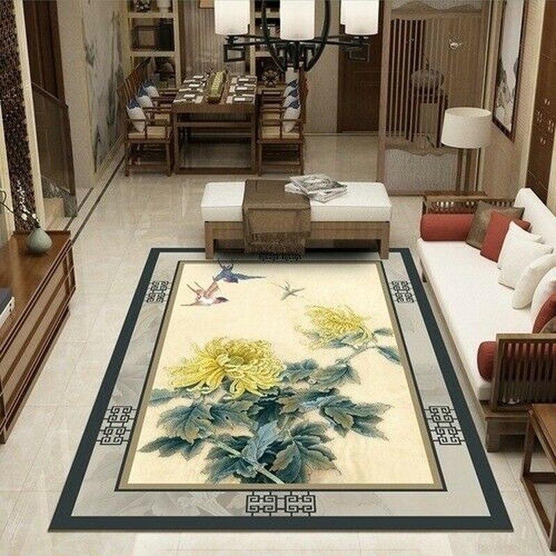 جديد غرفة المعيشة سجادة غرفة النوم حصيرة للزحف الحديثة الصينية نمط الأزهار وسادة أريكة المنزل آمنة عدم الانزلاق المنتجات الزخرفية