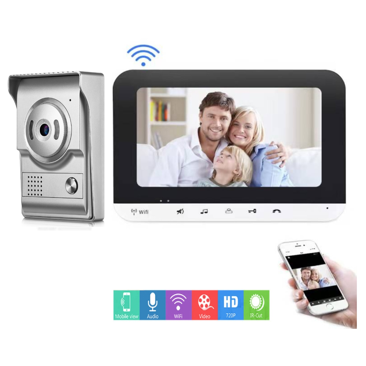 7 '' WIFI wireless call video intercom for home Monitor entry doorphone Doorbell with camera Outdoor