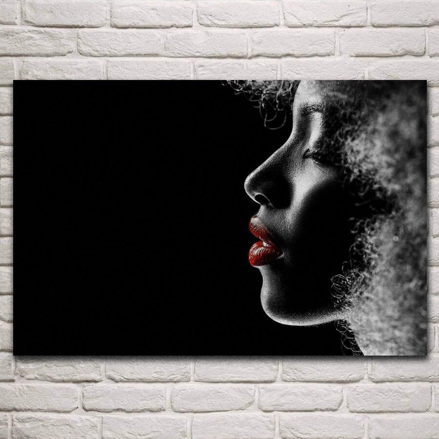 Retrato de silueta de chica sexi labios fuertes perfil obra de arte sala de estar hogar Arte de la pared Decoración marco de madera y tela carteles KN348