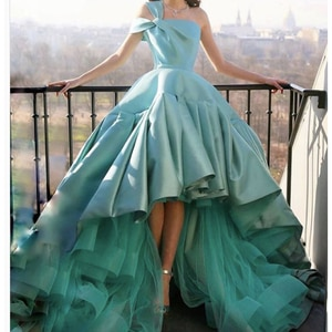 high front and low back prom dresses 2021 one shoulder ruffle green satin long evening dresses