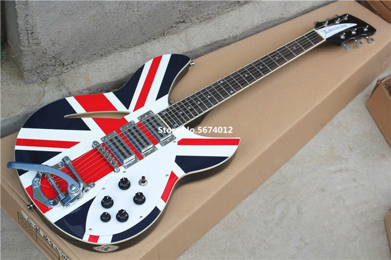 Hohe qualität angepasst Rickon 360 elektrische gitarre aufkleber mit flagge rose holz griffbrett. Freies verschiffen