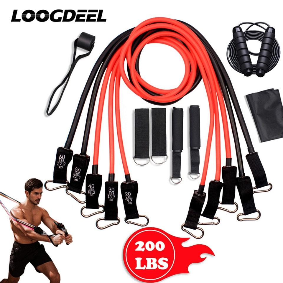 200LB TPE أنبوب مقاومة العصابات قابل للتعديل متعددة الوظائف سحب حبل ل رياضة اليوغا كمال الاجسام الذراع قوة التدريب مع مقبض