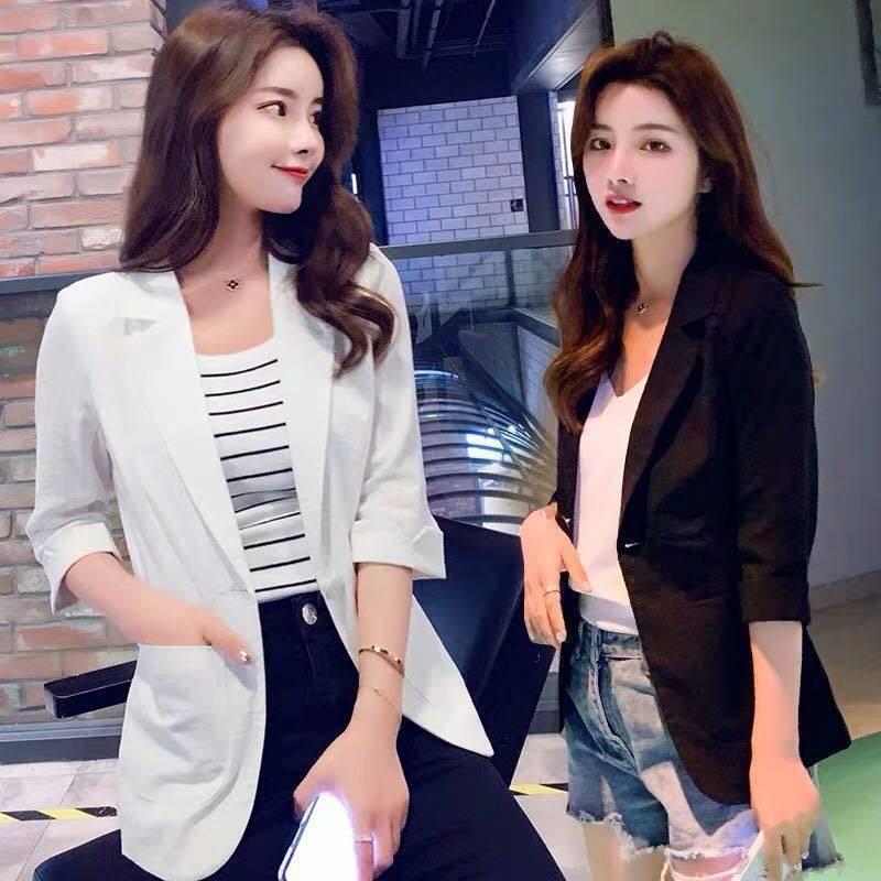 2021 New Summer Women 's Short Slim and Versatile Thin 3 / 4 Sleeve Suit