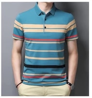 brand short sleeve polo shirt men smart casual business para hombre male striped polos breathable undershirt