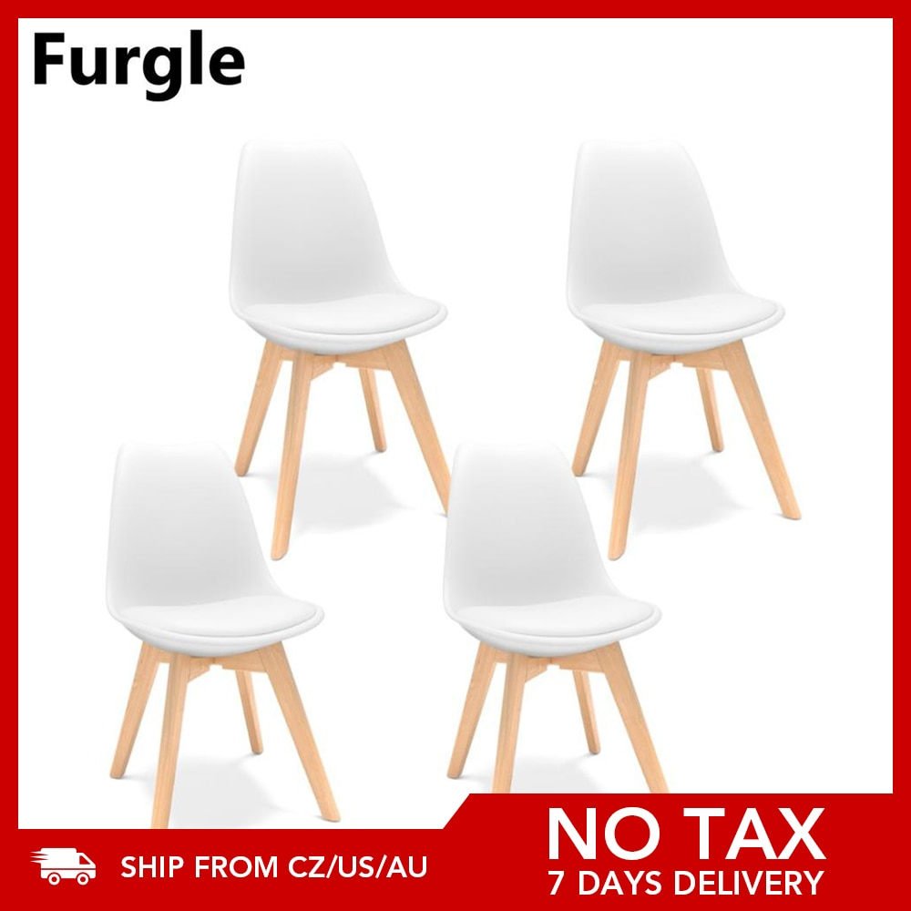 Furgle white 4Pcs modern dining chair eiffel inspired solid wood plastic padded seat with cushion kitchen chair for dining room