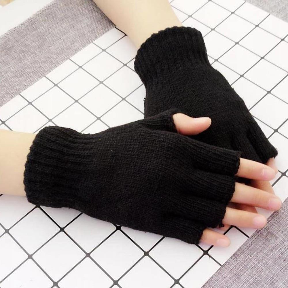 25# Unisex Winter Gloves Mitten Fingerless Knitted Crochet Half-finger Adult Warm Winter Fingerless