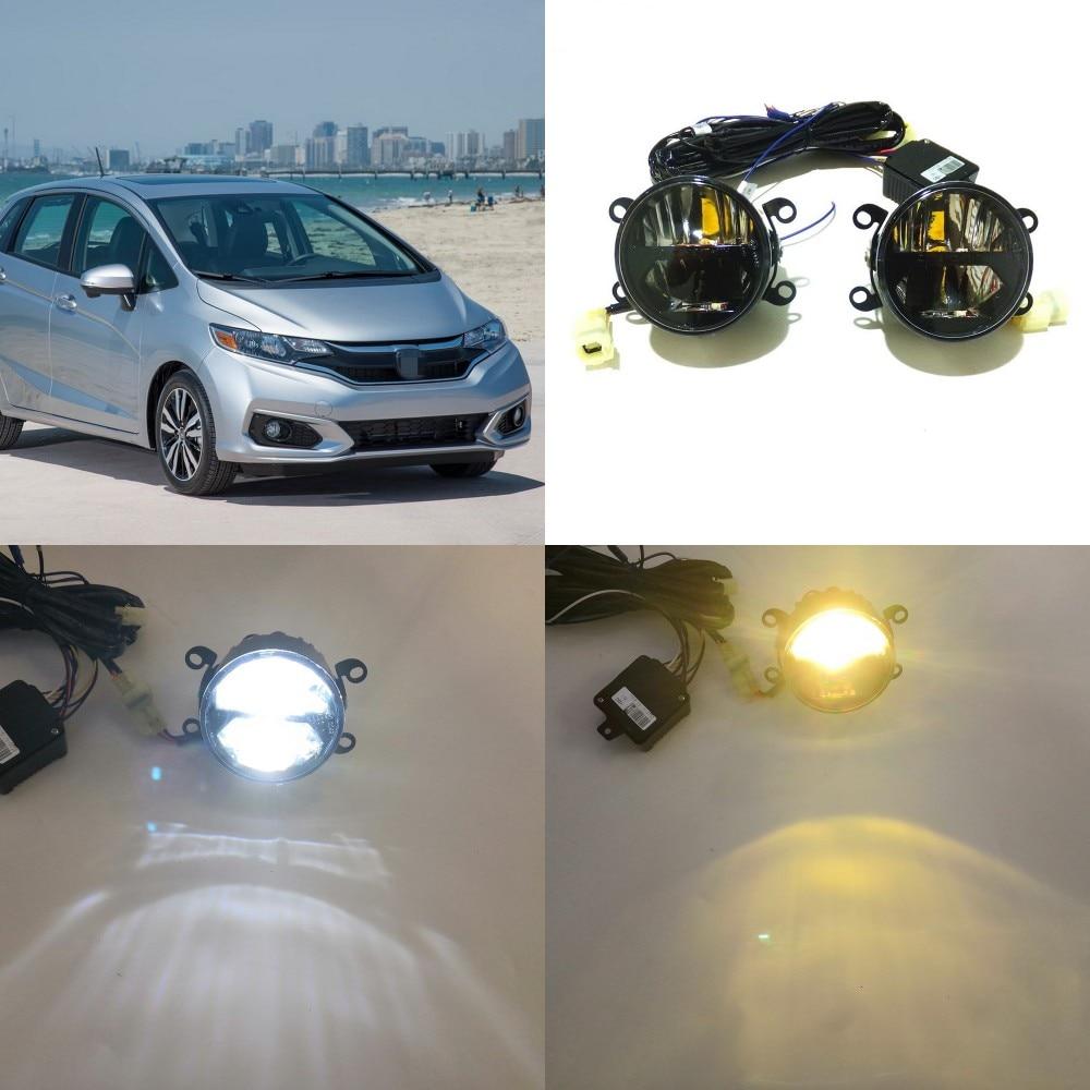 Julio Rey 24W Bifocal niebla cubierta de faro para Honda Jazz 2015-2020 6000K día luces DRL + Luz De Carretera + 4300K de baja haz
