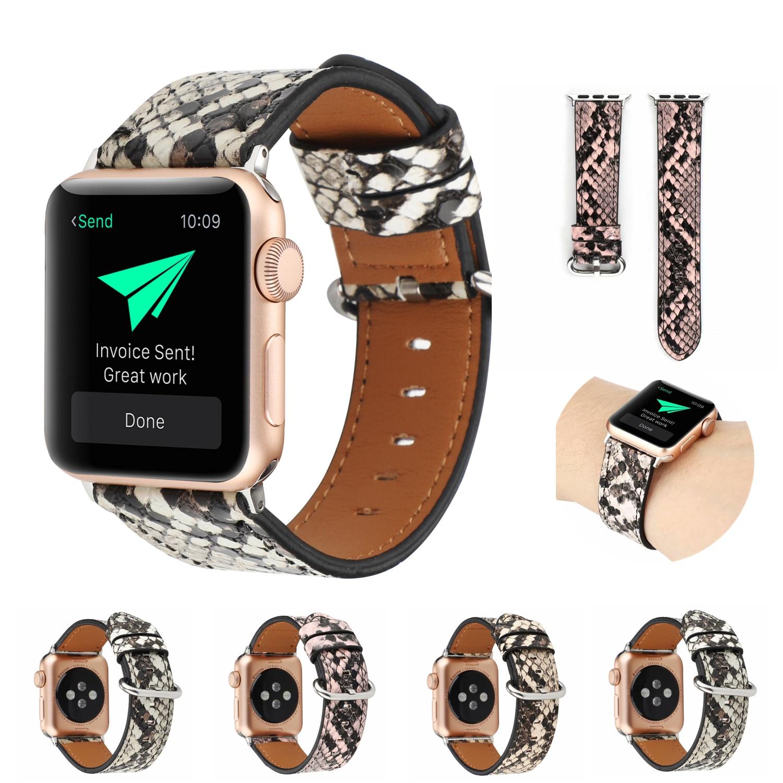 Ремешок из змеиной кожи для Apple Watch 6 5 4 3 SE 44 мм 40 мм, металлический браслет для IWatch Series 6 5 4 3 2 1 42 мм 38 мм