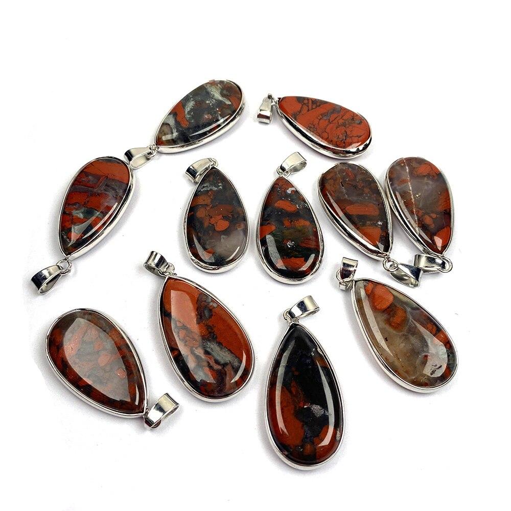 Neue 1PC Natürliche Stein Wasser Tropfen Afrikanische Blutstein Anhänger Halskette Charms Anhänger für Schmuck Machen DIY Halskette Größe 18x35mm