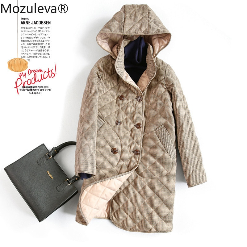 معطف حريمي مبطن بجودة عالية من Mozuleva موضة خريف وشتاء ياباني معطف فضفاض طويل من الصوف معطف سفلي