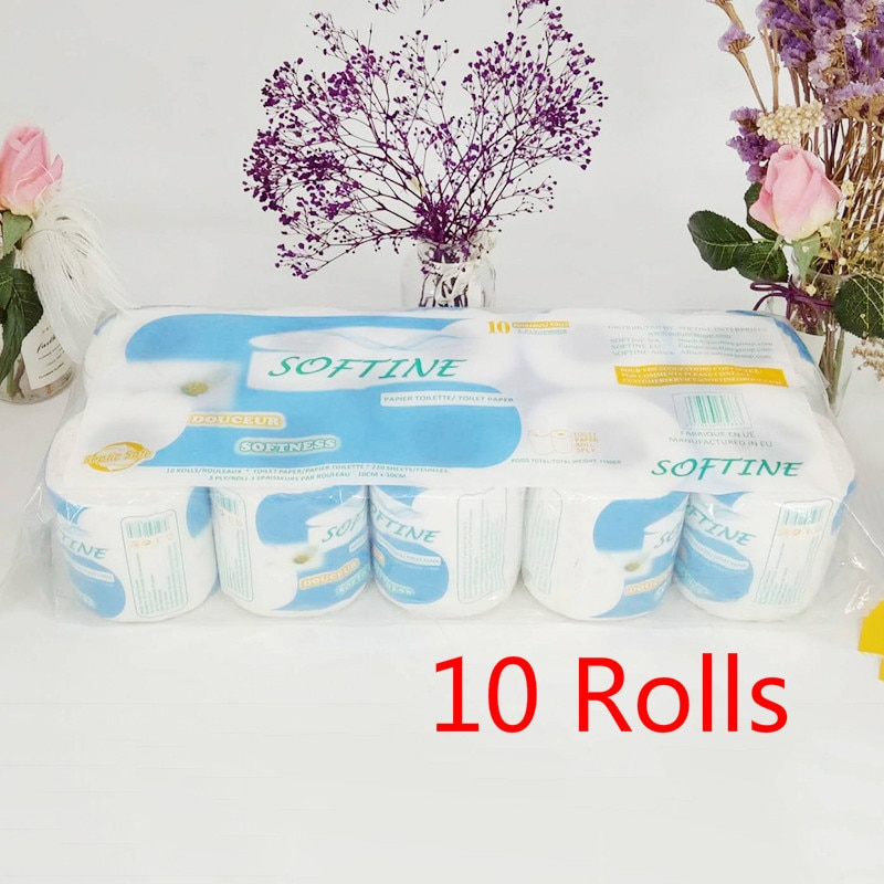 Schnelle Einkaufen 10 Rolls/Pack Hause Küche Wc Rollen Papier Tissue Glatte Weiche 3-Ply Wc Papier Haushalt reinigung Papier Handtücher