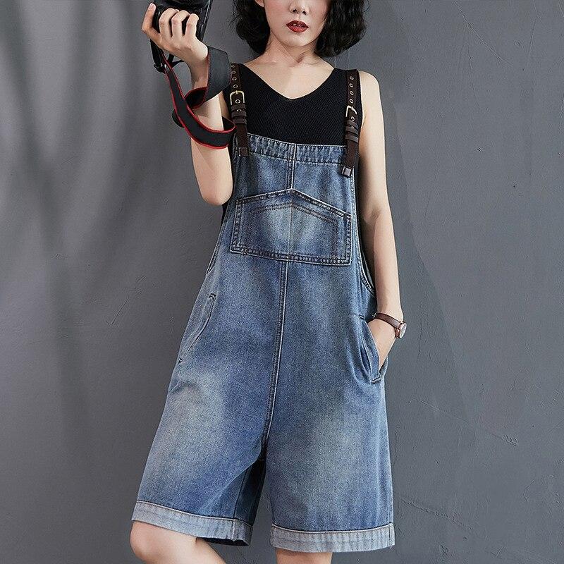 دنغري جينز قصير للسيدات ، دنغري جينز نسائي غير رسمي ، فضفاض ، بدون أكمام ، أرجل واسعة ، بنطلون جينز بحزام قابل للتعديل ، ملابس صيفية