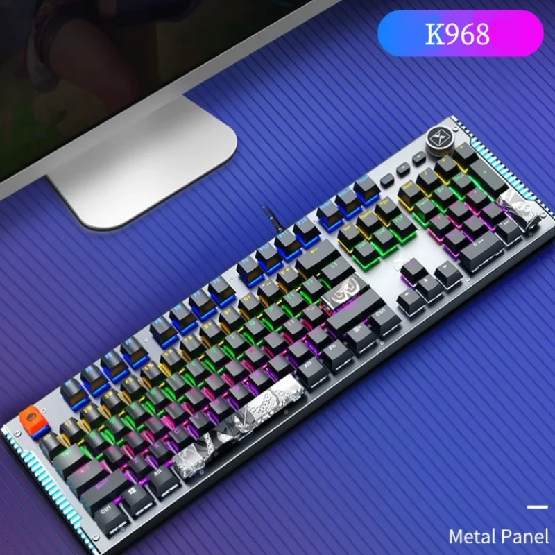 Mechanical Keyboard Wired Gaming Keyboard Mix Backlit Double Color Injection 104 Anti-ghosting Blue Switch For Game Laptop PC enlarge