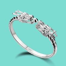 Vintage 925 argent bracelet hommes chinois dragon design solide argent bracelet ouverture réglable mâle bijoux cadeau danniversaire