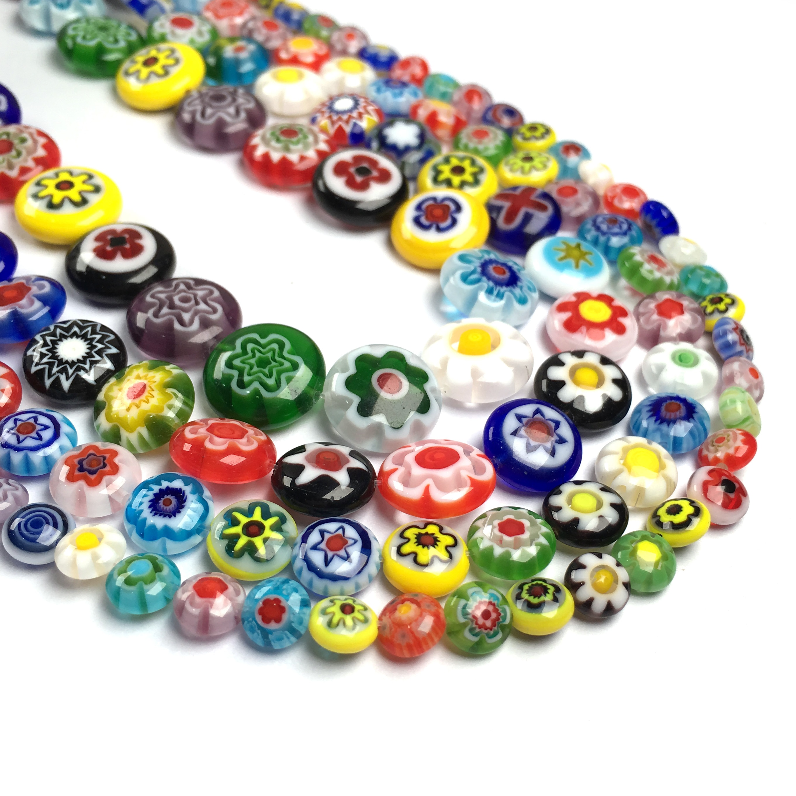 Fashion Mixed Oblate Round Millefiori Flower Lampwork Glass Beads For DIY Necklace Bracelet Jewelry Making Accessories Gift  - buy with discount
