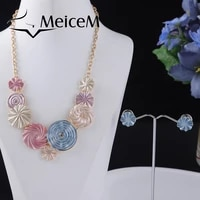 meicem gray enamel geometric chain choker necklace big circle pendant necklaces for female fashion womens jewelry set gifts