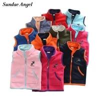 sundae angel vest for girl waistcoat stand collar children boy embroidery donkey pattern polar fleece outerwear coats kids 2 14y
