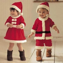 Bazzery Children Christmas Cosplay Clothing Baby Boys Girls Christmas Suit and Dress Santa Claus Cos