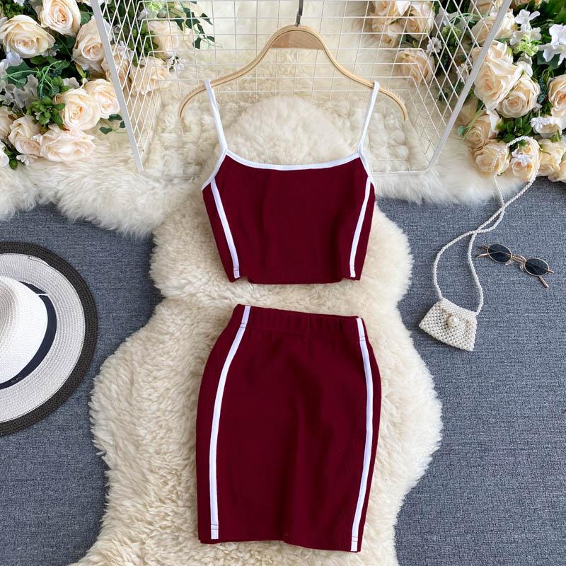 Women Sport Set Summer 2020 Sleeveless Short Camis Vest + High Elastic Waist Mini Skirt Patchwork Female Casual 2pcs Sets Suit