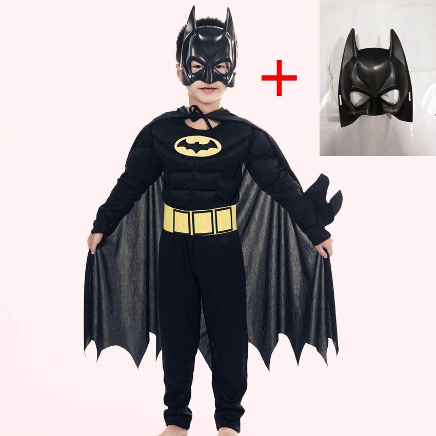 Crianças meninos muscular batman trajes com máscara capa personagem de filme super-herói cosplay halloween traje mascarada noite superman