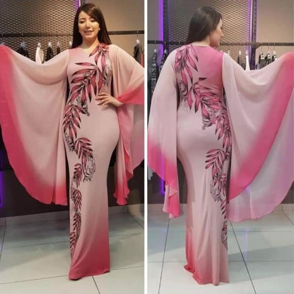 2020 Primavera Verano moda Casual manga larga de llamarada suelta Mujeres Nuevo diseño hoja estampado africano Maxi vestidos Ankara Dashiki vestido