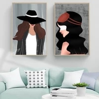 Peinture a lhuile avec chapeau de fille  figurine nordique  mode  art abstrait  toile  peinture  salon  couloir  bureau  decoration murale de la maison