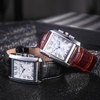 Часы наручные мужские кварцевые с кожаным ремешком, квадратные деловые, официальные