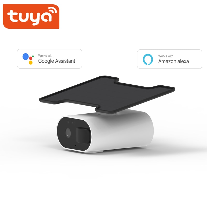 Tuya Smart Solar Powered Rechargeable Battery Support Alexa Google Outdoor Two Way Audio WiFi Security Surveillance Camera
