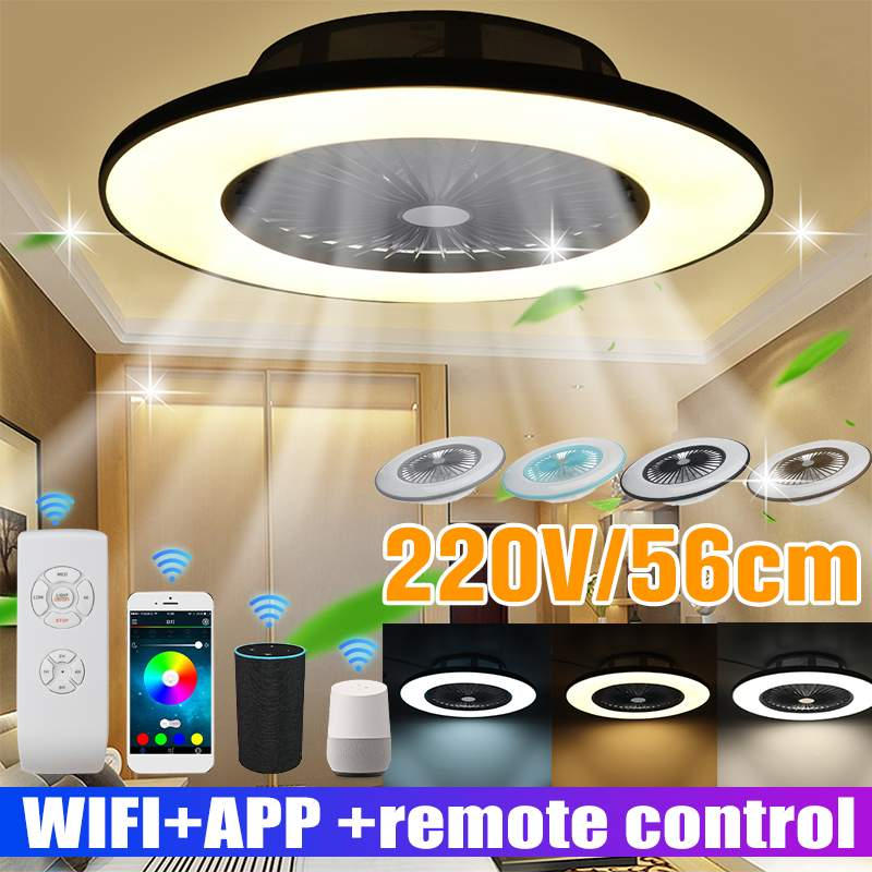56 سنتيمتر 220 فولت WiFi الذكية LED الموسيقى مروحة سقف مصباح التحكم عن بعد كتم بلوتوث 3-Wind ضبط سرعة عكس الضوء ضوء السقف المشجعين
