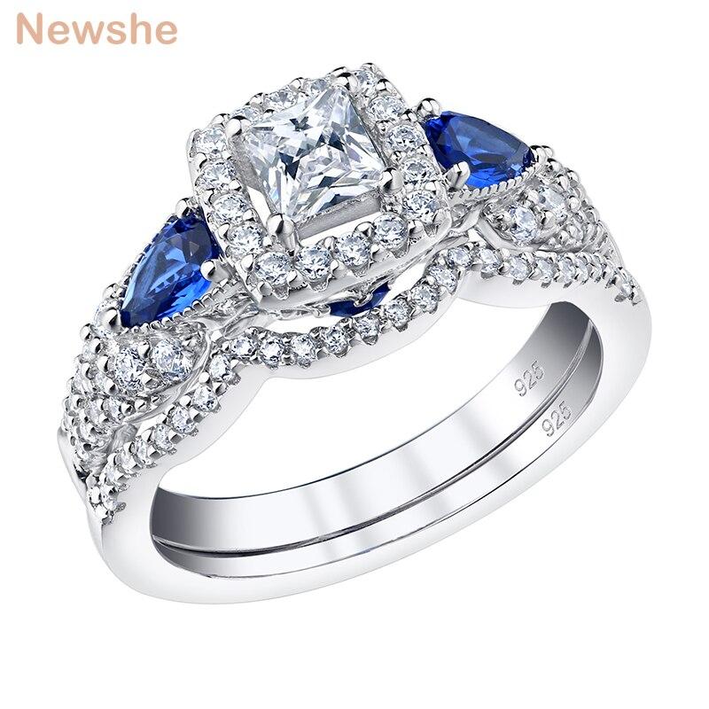 Newshe 2 قطعة 100% الصلبة 925 فضة الزفاف خواتم الخطبة للنساء الأميرة قص الأزرق الكمثرى AAAAA الزركون طقم عروسة