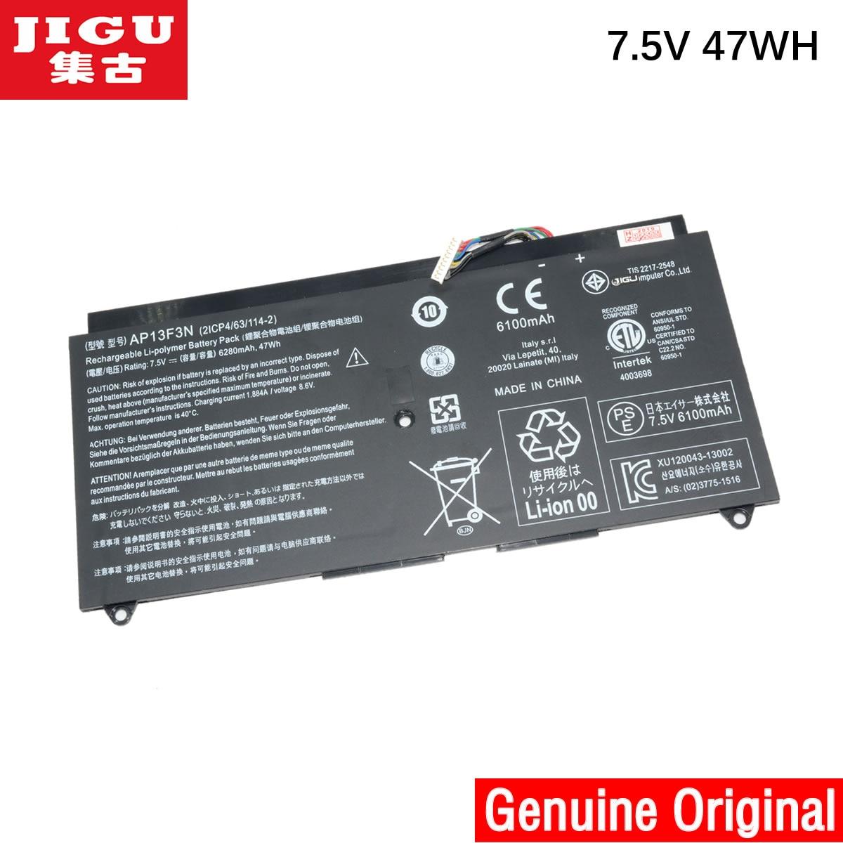 JIGU-batería Original para ordenador portátil, pila de 7,5 V, 47WH, 21CP4/63/114-2, AP13F3N,...
