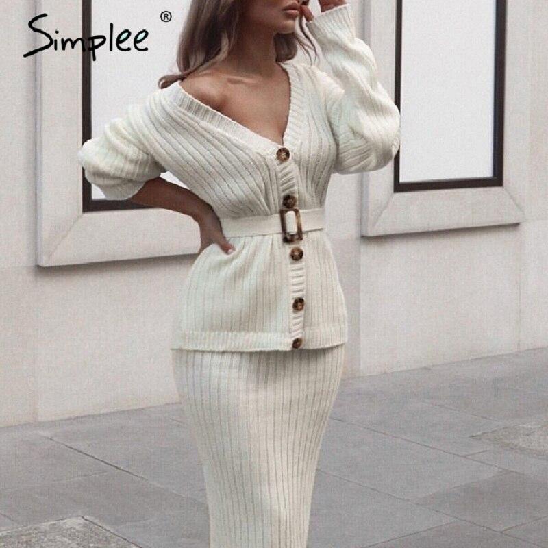 Simplee женское трикотажное платье-свитер элегантная осенне-зимняя юбка из кусочков костюм белый женский кардиган с длинным рукавом Миди платья