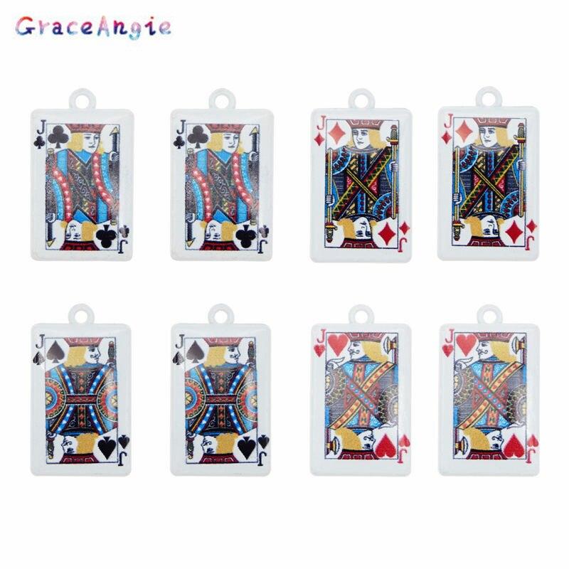 10 Uds. Reina Joker rey Poker tarjeta colgante blanco lechoso plateado aleación de Zinc pequeño encanto DIY único Charms Poker joyería