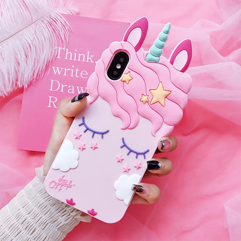 3D Cartoon Unicorn Case Soft Silicone Cover for Xiaomi Mi F1 A1 A2 Lite 5X 6X Redmi 3S 3X 4A 4X 5 Pl