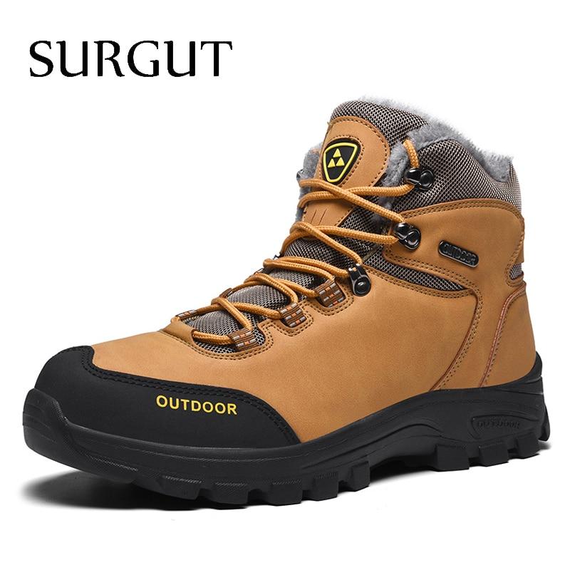 SURGUT-أحذية شتوية جديدة للرجال مع فرو 2021 ، أحذية شتوية دافئة للثلج ، أحذية عمل خارجية ، أحذية رجالية ، أحذية كاجوال عصرية من الجلد مقاس 39 إلى 46