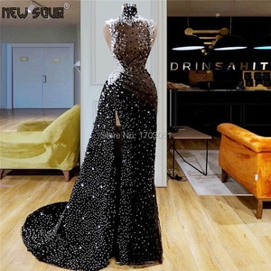 Glitter Transparent Evening Dresses Custom Made 2019 New Arrival Split Slit Prom Dress For Dubai Arabic Robe De Soiree 2020 Kaftans Middle East Party Gowns Formal Pageant Gown