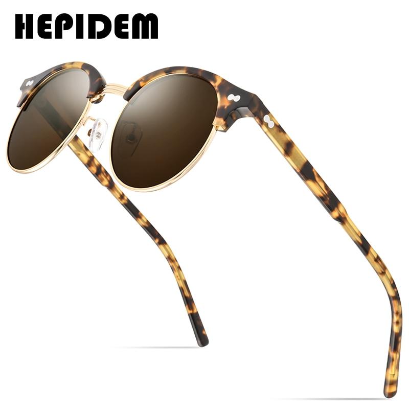 HEPIDEM خلات الاستقطاب النظارات الشمسية الرجال 2020 جديد المرأة العلامة التجارية مصمم النظارات الشمسية الرجعية خمر جولة الشمس نظارات للرجال 9123