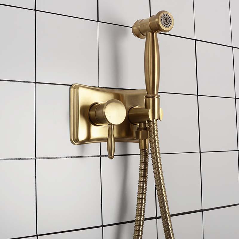 Brushed Gold&Black Bathroom Bidet Spray Tap 2 Function Concealed Hot And Cold Mixer Bidet Sprayer Douche Shower Toilet Spray KiT