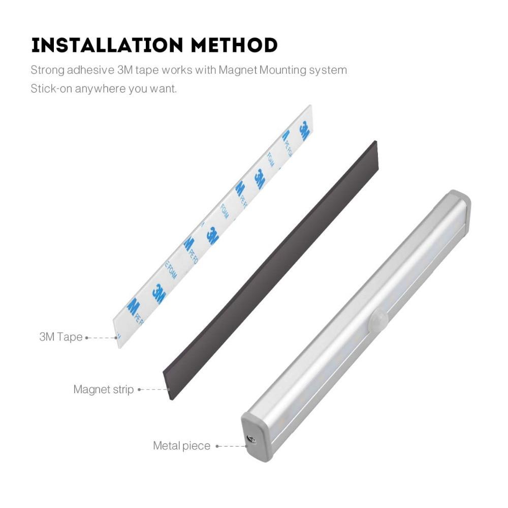 Smart Motion Sensor LED Night Light 6/10 LEDs 98mm 190mm Human body induction for home Bed Kitchen Cabinet Wardrobe Wall Lamp enlarge