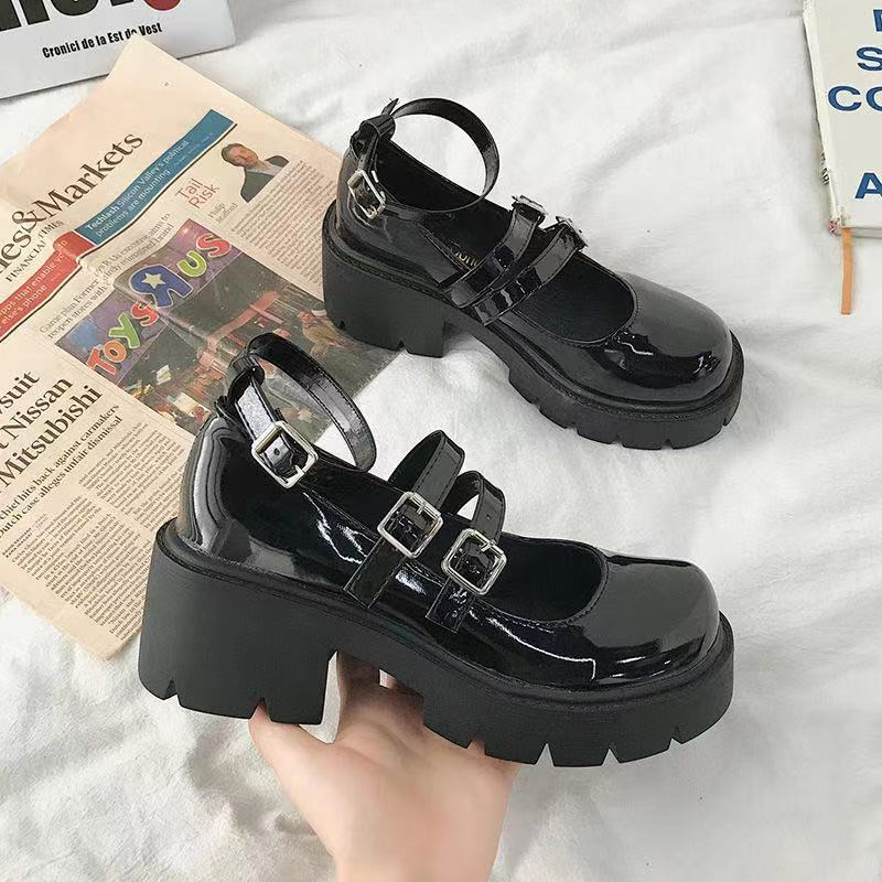 Mary Jane thick-soled high-heeled shoes Japanese style Lolita pumps retro thick-heeled female college students shoes