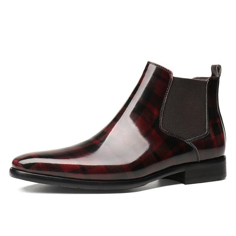 Купить с кэшбэком CGNP New Arrival Embossing Pattern Checks Genuine Leather Shoes Men Ankle Boots Handmade Chelsea Boots Autumn Winter Shoes
