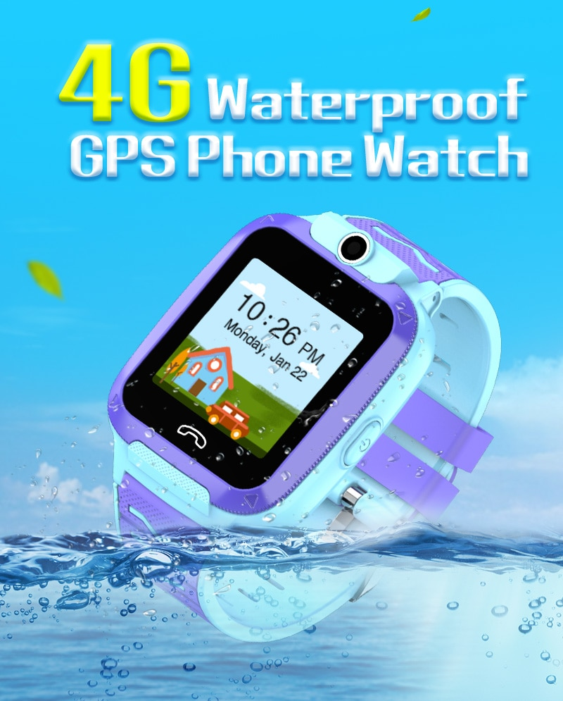 Relógio para Crianças Chamada de Vídeo Wifi + Lbs Sos à Prova Telefone Rastreador Dwaterproof Água Crianças Relógio Inteligente Localização Menino Menina 51 Gps 4g