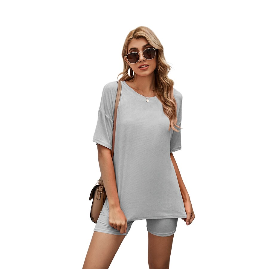 MIXINI 2021 Summer New Home Service Solid Color Casual Leggings Sports Suit  Relaxation 012