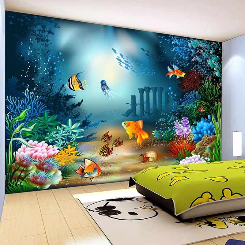 Custom 3D Mural Wallpaper Underwater World Sea Fish Seaweed Photo Background For Kids Room Bedroom Decor Wall Painting
