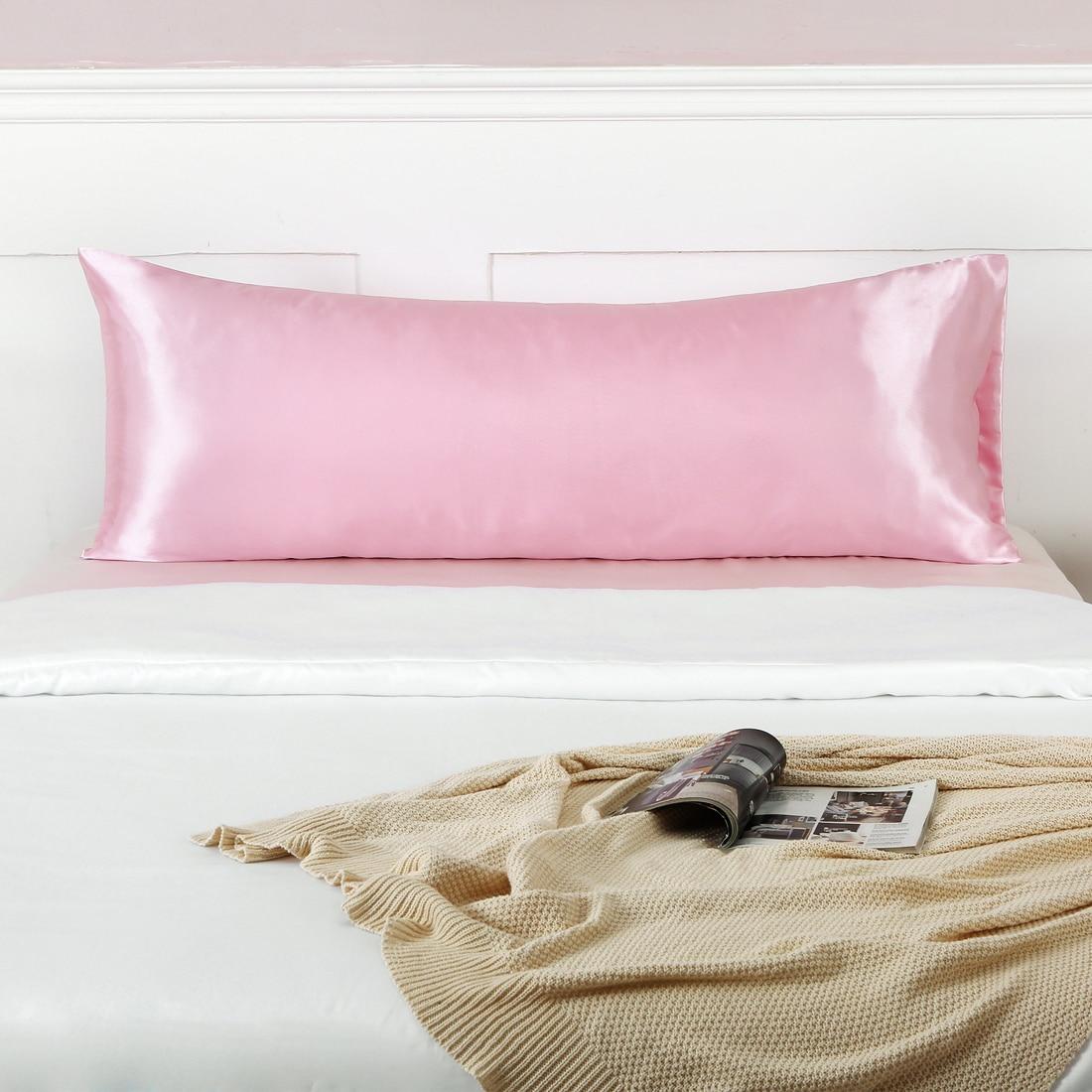 غطاء وسادة ساتان حريري تقليد ، ناعم ومريح ، للجسم ، مع إغلاق مغلف ، طويل ، 51x 137cm