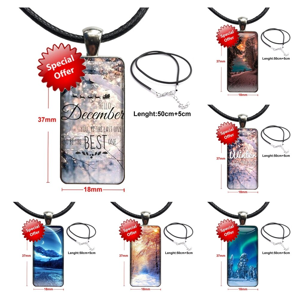 Landscape Winter Light Snow For Girls Brand Steel Color Jewelry Fashion Statement Necklace Glass Necklaces Pendants Collection