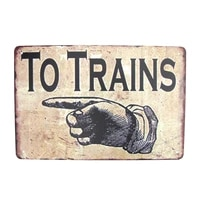 vintage railroad station to trains sign finger pointing arrow garage man cave wall rr decor