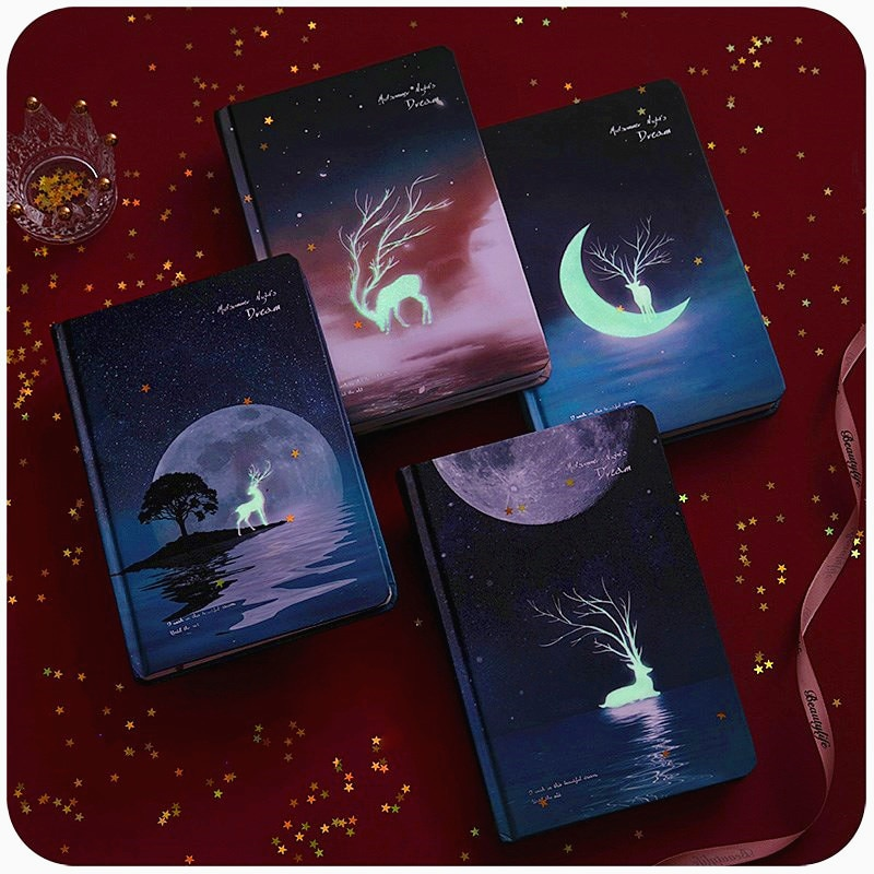 A5 hardcover starry sky color page diary notebook office supplies  notebooks for students
