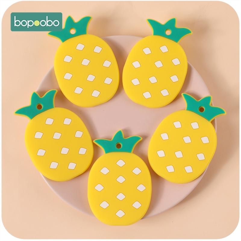Bopoobo Bpa silicona libre piña 5pc silicona dentición de grado alimenticio enfermería dentición bebé móvil juguetes recién nacido mordedor